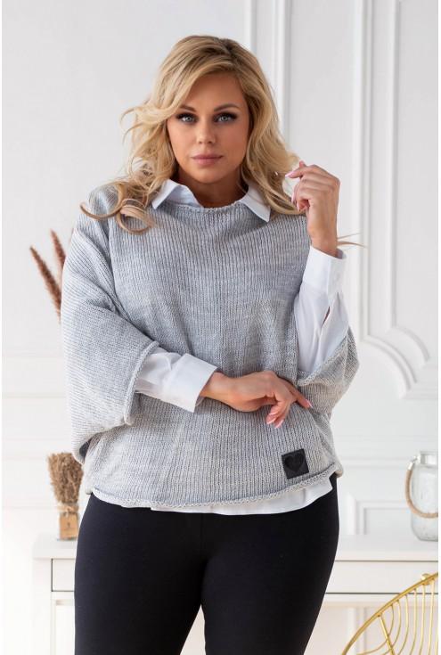 szary sweterek plus size xxl