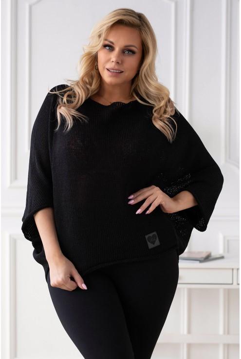 czarny sweter xxl kimonowy na co dzień