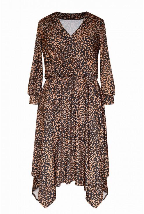 czarna sukienka w cętki duże rozmiaru plus size sklep XL-ka.pl