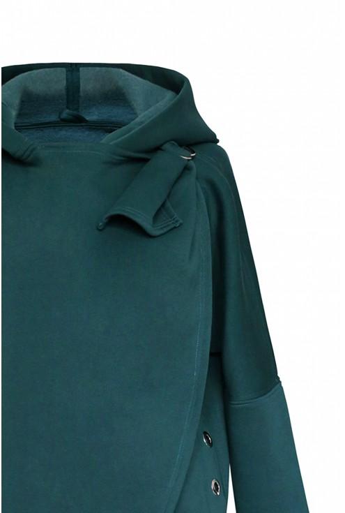Butelkowa ciepła bluza plus size z kapturem - NEVA