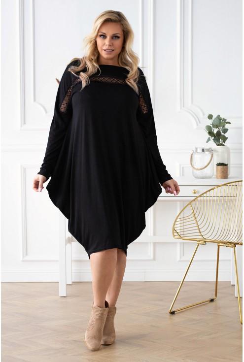 czarna sukienka z koronką xxl