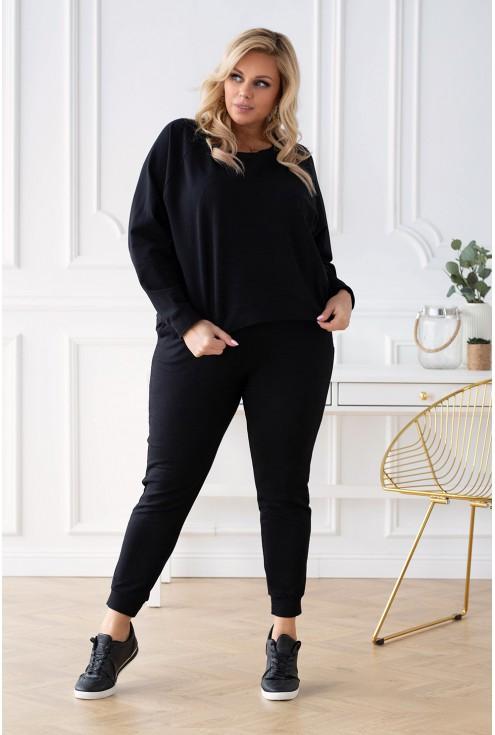 czarna bluza dresowa plus size zima 2020
