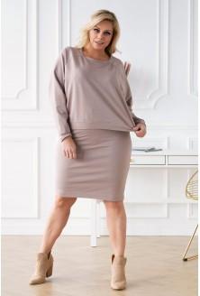 beżowa spódnica dresowa plus size