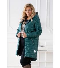 Butelkowa długa jesienna kurtka pikowana z kapturem - Scarlett