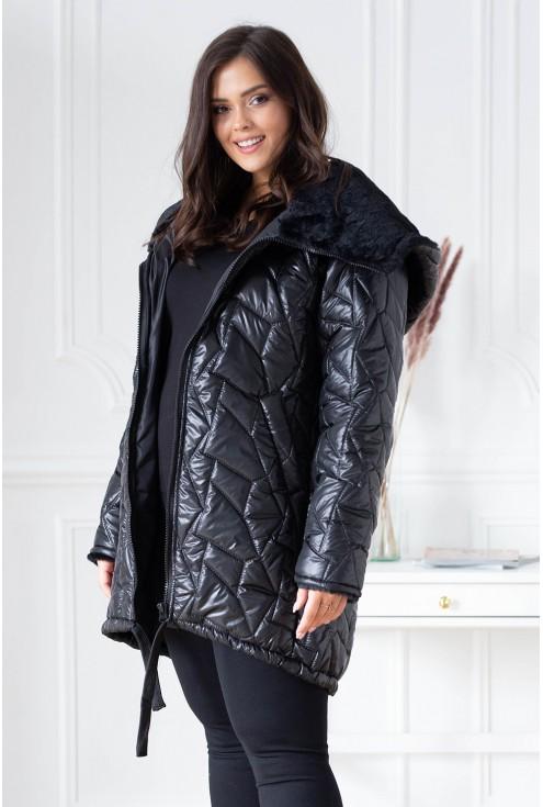 Czarna kurtka xxl z kieszeniami