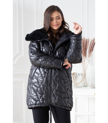 Czarna ciepła pikowana kurtka z misiem - POLIN