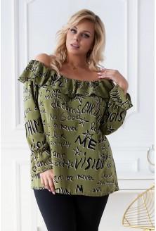 Oliwkowa bluzka hiszpanka z napisami