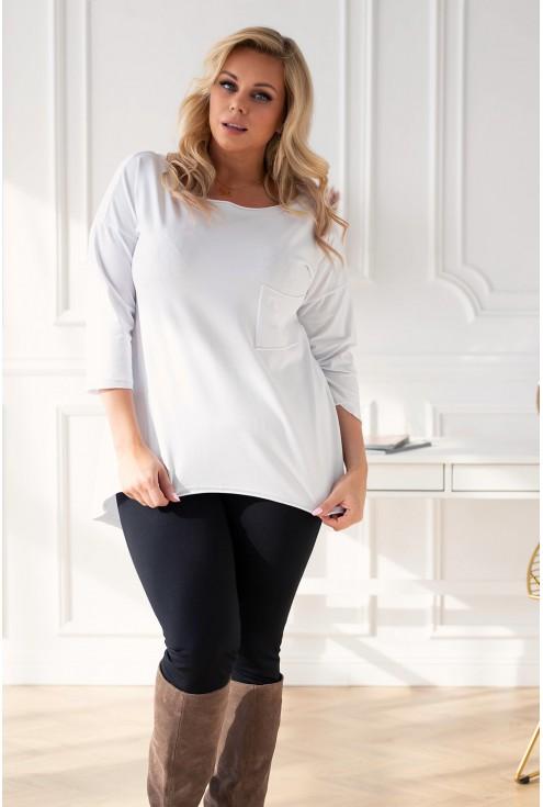 Biała bluzka/tunika z kieszonką