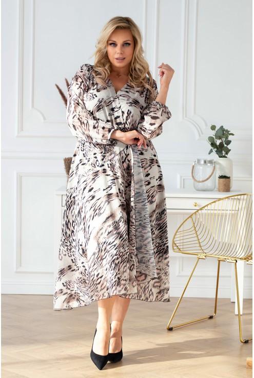 Beżowa sukienka maxi z kopertowym dekoltem