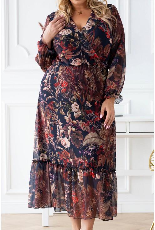 Czarna sukienka w brązowe liście Tami