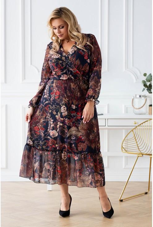 Czarna sukienka maxi w brązowe liście