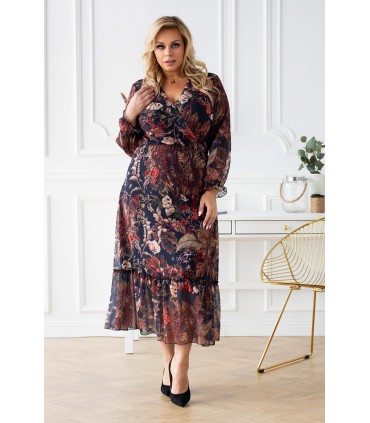 Czarna sukienka maxi w brązowe liście z kopertowym dekoltem - TAMI
