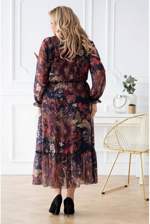 Tył czarnej sukienki Tami w brązowe liście