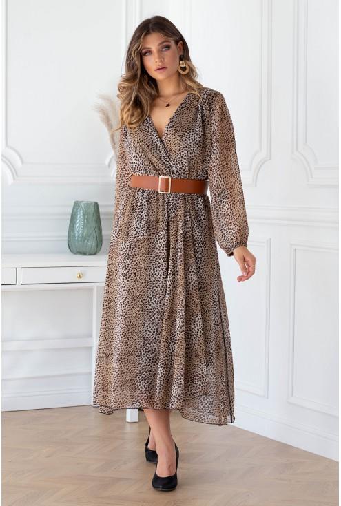 Sukienka maxi z wzorem w panterkę