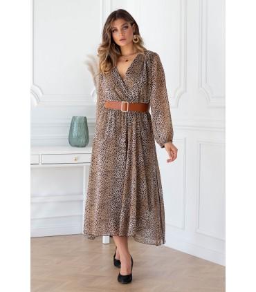Sukienka maxi z wzorem w panterkę z kopertowym dekoltem - MIKAYLA