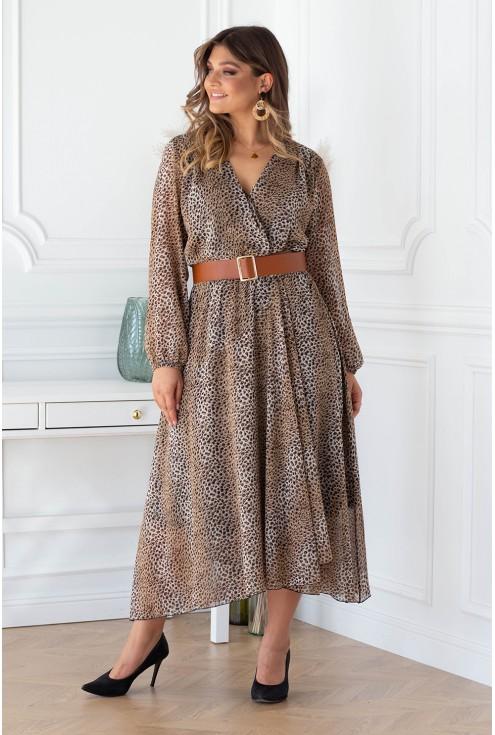 Sukienka z wzorem w panterkę z kopertowym dekoltem