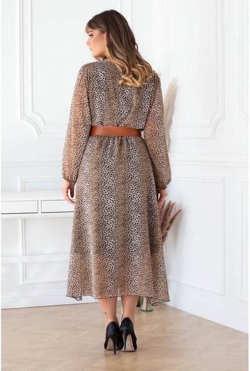 Tył sukienki  w panterkę Mikayla