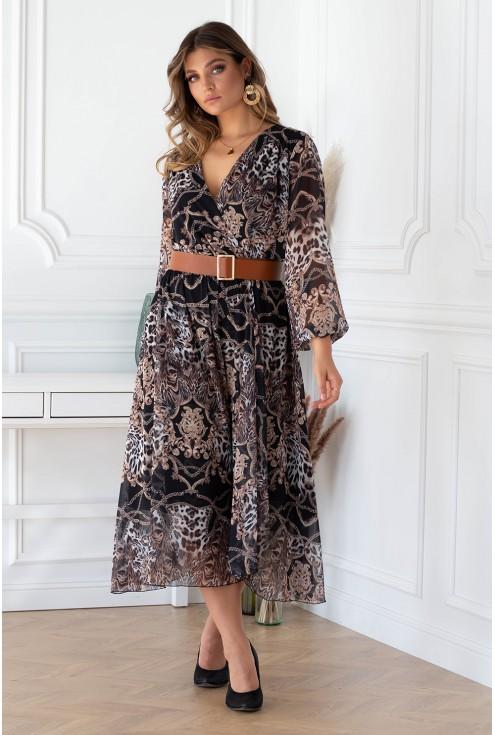 Czarna sukienka maxi z wzorem