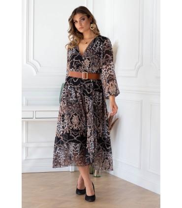 Czarna sukienka maxi z wzorem z kopertowym dekoltem - MIKAYLA