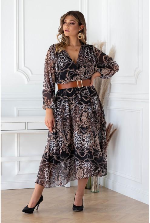 Czarna sukienka maxi z kopertowym dekoltem