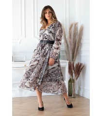 Beżowa sukienka maxi w różową panterkę z kopertowym dekoltem - MIKAYLA