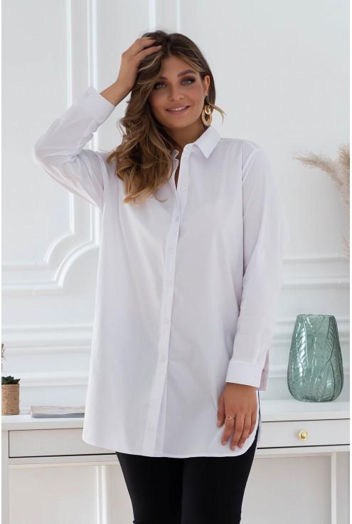 biała elegancka koszula plus size