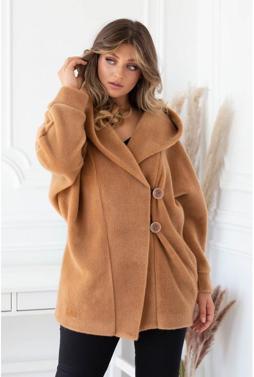 Karmelowy płaszcz z kapturem