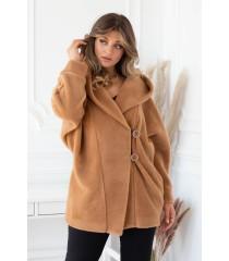 Karmelowy płaszcz z kapturem - LIVIEN
