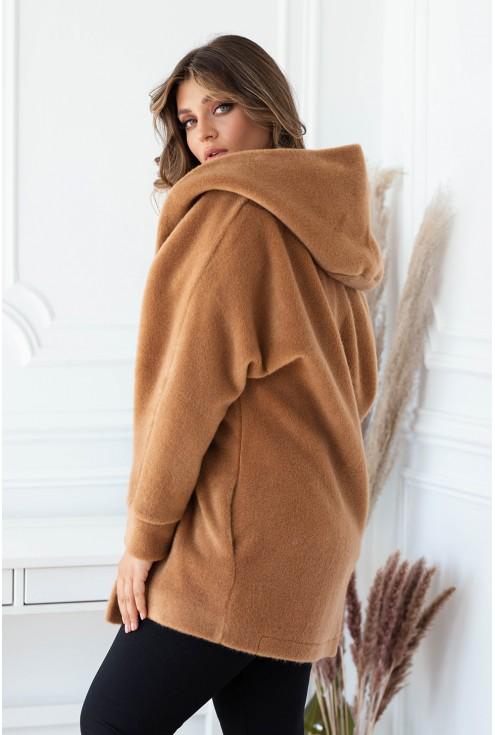 Karmelowy płaszcz ciepły xxl