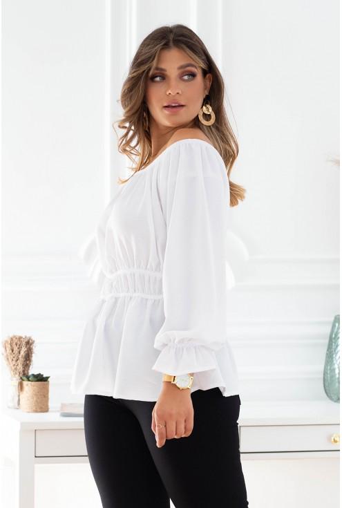 Biała bluzka z dekoltem