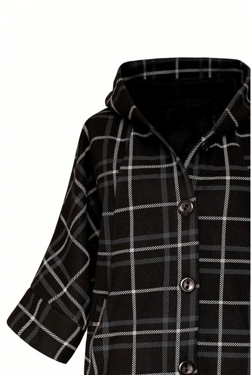 Czarny płaszcz w kratkę