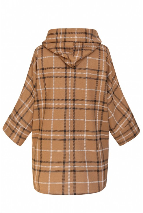Płaszcz plus size z kapturem