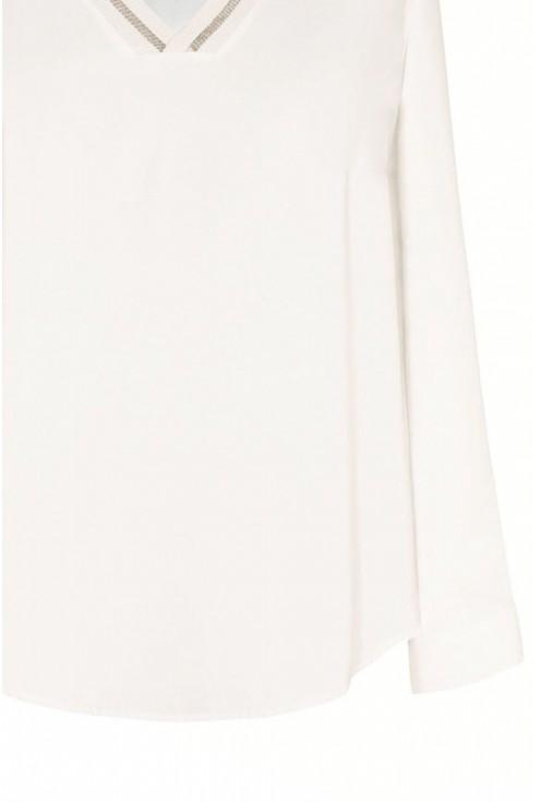 Ecru bluzka z długim rękawem