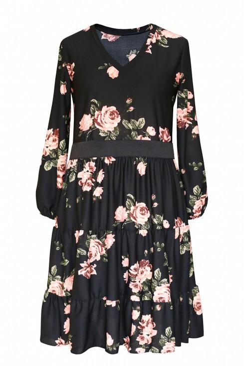 sukienka wzór w róże plus size