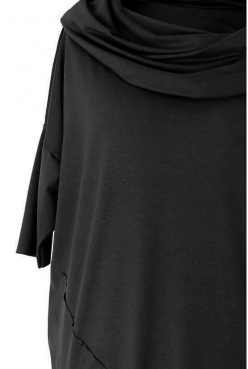 Czarna tunika asymetryczna z golfem TAMARA