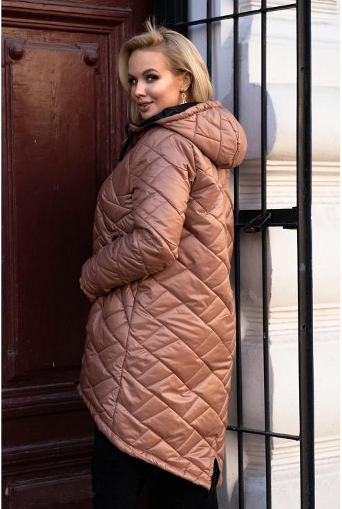 Karmelowa długa kurtka pikowana z kapturem - JENNA