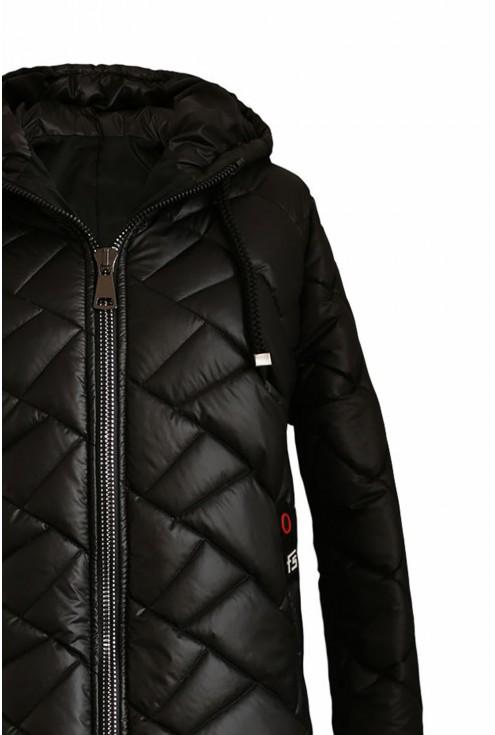czarna pikowana kurtka Jenna - detal góra