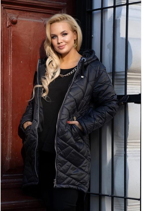 czarna pikowana kurtka z kapturem plus size xxl