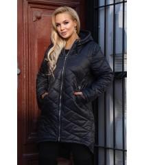 Czarna długa kurtka pikowana z kapturem - JENNA