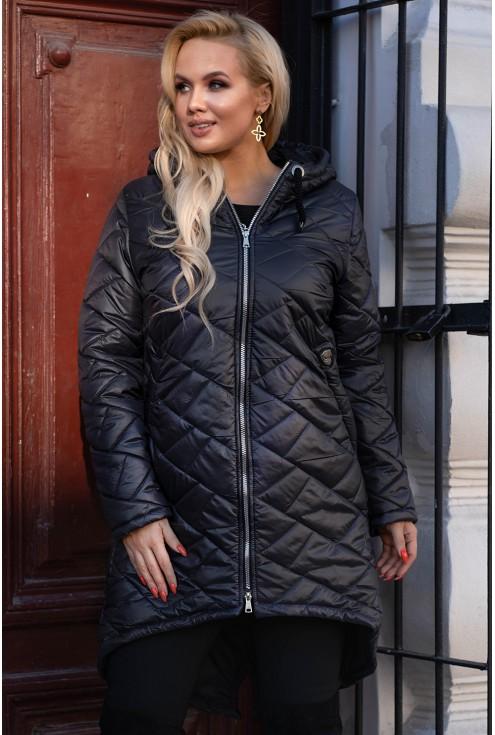 Długa czarna kurtka plus size dla kobiet duże rozmiary xxl