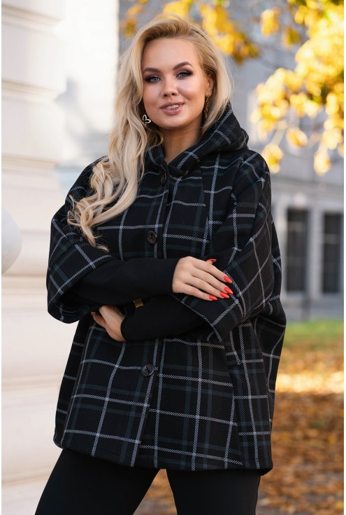 Czarny elegancki płaszczyk z kapturem - ANDREA