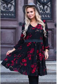 czarna sukienka z kwiatami xxl