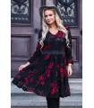 Czarna sukienka z falbanami w czerwone róże - ZOLI