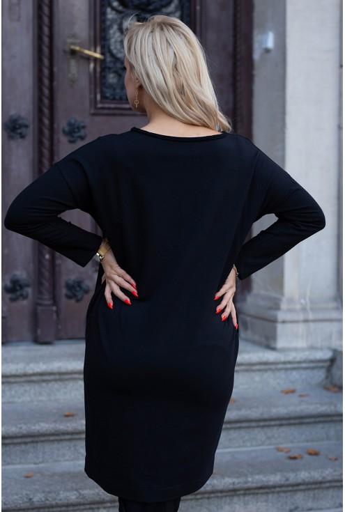Czarna sukienka z kieszeniami - wzór z misiem - KARINE