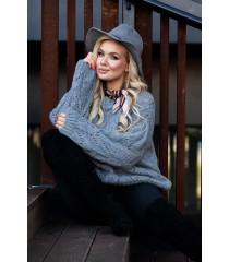 Szary ażurowy sweter - MALISA