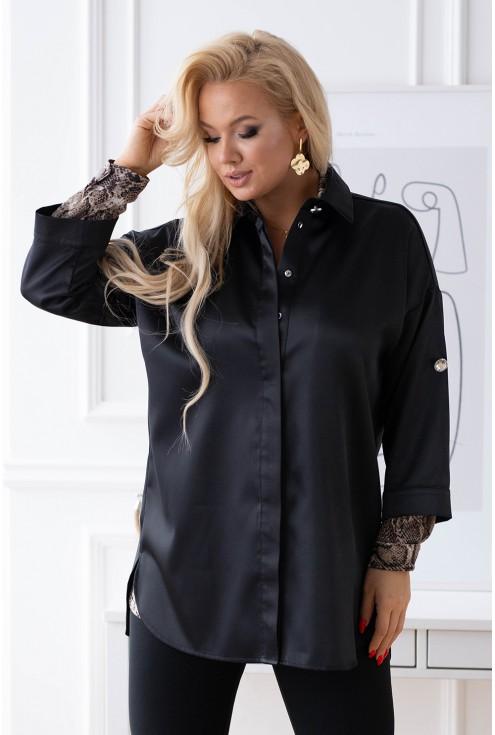 czarna satynowa koszula plus size