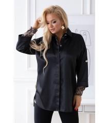 Czarna tunika/koszula z ozdobnymi guzikami - BECKY
