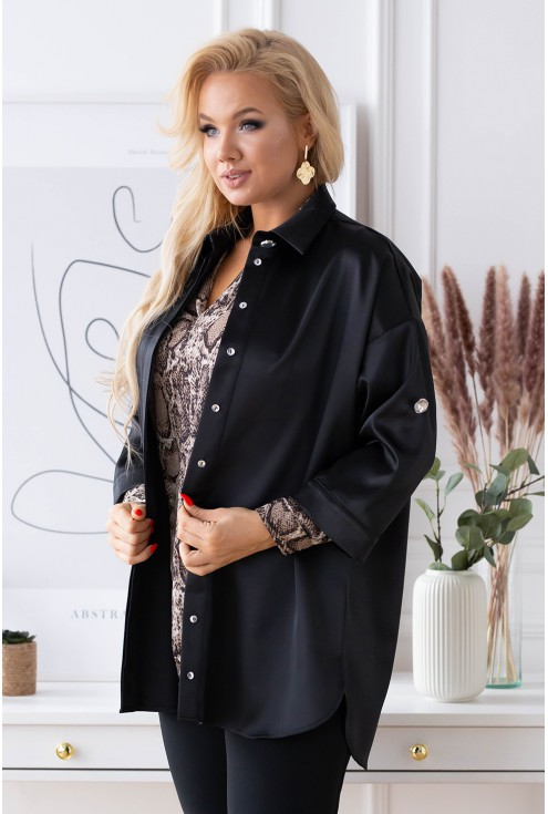 czarna elegancka koszula z satyny
