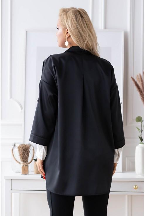 tył czarnej satynowej koszuli plus size