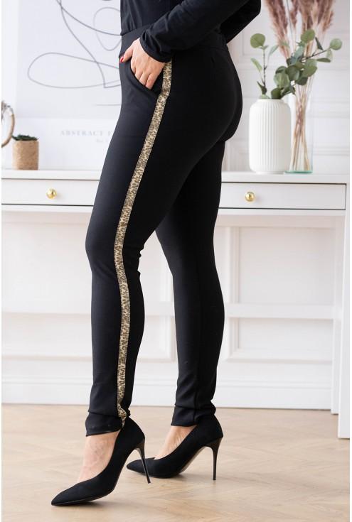 spodnie dresowe z lampasem w panterkę